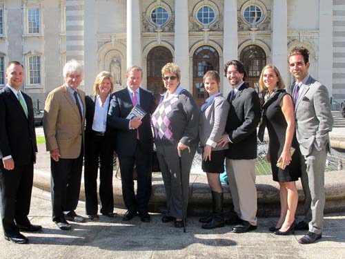 The O'Neill clan gathers with Taoiseach Enda Kenny in Dublin on September 6. Pictured, l-r: Michael O'Neill, Jr., grandson of Speaker O'Neill Thomas P. O'Neill III, son of Speaker O'Neill, Shelly O'Neill, Thomas P. O'Neill III's wife, Taoiseach, Rosemary
