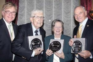 Charitable Irish Society President Christopher A. Duggan and honorees Gerard Doherty, Sr. Maryadele Robinson and William Higgins. 	Steve Allen photo