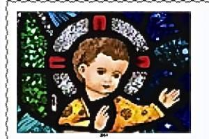 "One of Ireland's three Christmas stamps featured a Michael McLaughlin photograph of the Infant Christ from ""Adoration of the Magi,"" a Harry Clarke  stained-glass window in St. Patrick's Church,  Newport,  Co. Mayo."