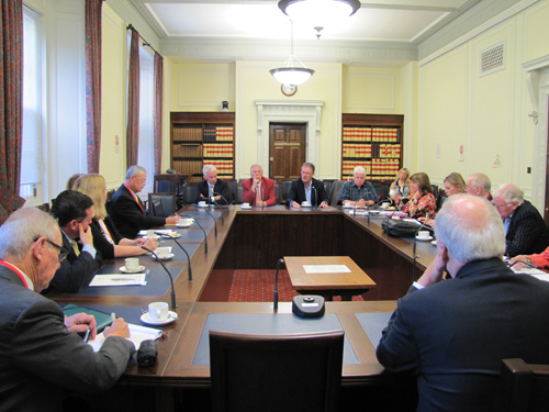 Above, one of many sessions involving members of the Irish American Partnership and Irish officials that took place during the Partnership's mission to Ireland in August.