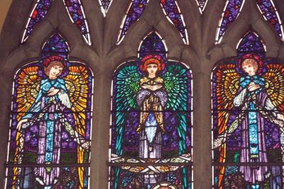 "Detail from ""Adoration of the Magi,"" a Harry Clarke stained glass window in Kilmaine, Co. Mayo."