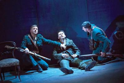 "Ian-Lloyd Anderson, Lloyd Cooney and Liam Heslin in the Abbey Theatre production of Sean O'Casey's ""The Plough and the Stars,"" playing the American Repertory Theater from September 24 to October 9. Ros Kavanagh photo"