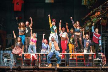 "The company of the ""Rent 20th Anniversary Tour,"" playing Boston's Boch Center Shubert Theatre, April 11 – 23. Carol Rosegg photo"