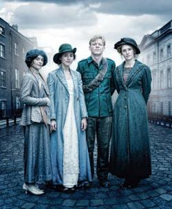 The three-night series Rebellion premieres on SundanceTV on April 24. The cast includes, from left:  May Lacy, Elizabeth Butler, Jimmy Mahon and Frances O'Flaherty. 	Image courtesy SundanceTV