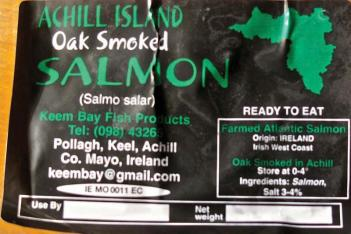 Achill Island smoked salmon is delicious on brown bread sprinkled with lemon.