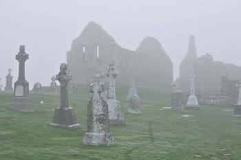 A foggy day at Clonmacnoise in County Offaly adds even more charm to the ancient ruin.