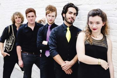 Cat and the Moon members (L-R) Elias Alexander, Eamon Sefton, Charles Berthoud, Ricky Mier and Kathleen Parks met while studying at the Berklee College of Music.