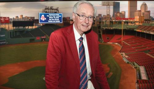 Dick Flavin at one of his favorite places: Fenway Park, Boston. 	Bill Brett photo