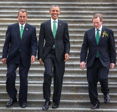 Speaker of the House John Boehner, President Barack Obama, and Taoiseach Enda Kenny walked together down the steps of the U.S. Capitol Building in Washington, D.C. on March 17, 2015. 	Photo courtesy White House