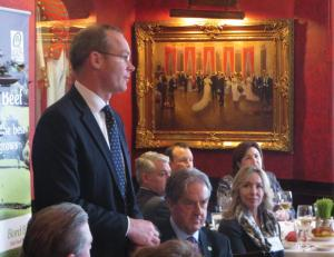 Ireland's Minister for Agriculture, Food and the  Marine, Simon Coveney TD, spoke during a luncheon at Smith & Wollensky Steakhouse in the Back Bay last month.                                        Photo by Ed Forry