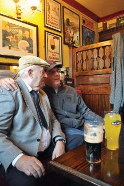 The mayor in Clifden: Marty Walsh made a new friend in Henry Kenneally, 75, in Lowry's Pub on Saturday, Sept. 21. Photo by Bill Forry
