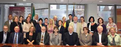 Members of Irish organizations across New England at the Consulate in Boston. Photo courtesy Connell Gallagher