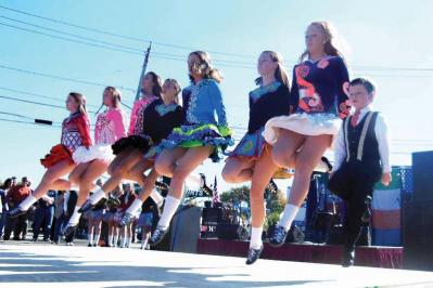 The Green-O'Leary School of Irish Dancing aloft during 2014's Dorchester Irish Heritage Festival.
