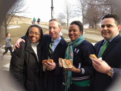 Congressman Stephen F. Lynch and Rep. Nick Collins joined State Senator Linda Dorcena Forry and Dorchester's Donna Gittens, left, at Castle Island in South Boston on Sunday as the elected officials filmed video in preparation for the annual St. Patrick's Day Breakfast. Forry will host the event on March 16. 	Photo courtesy Sen. Forry's office