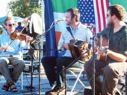 The Press Gang (L-R, Alden Robinson, Chris Stevens and Owen Marshall) performing at last fall's Dorchester Irish Heritage Festival. Sean Smith photo