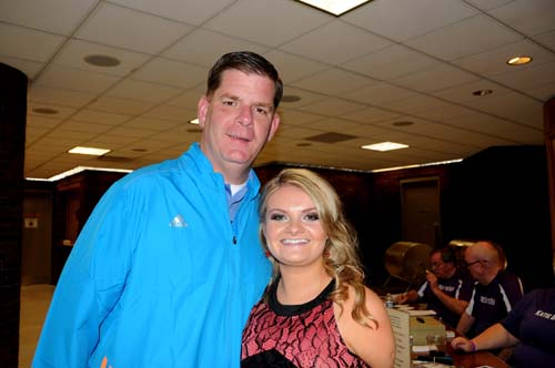 Mayor Walsh with Katie O'Halloran in an April 19, 2014 photo in Dorchester