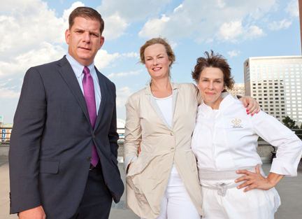 Mayor Martin Walsh, IFest Boston founder Rachel Kelly and chef Barabara Lynch are key players in bringing September's three-day festival to the Seaport/World Trade Center on Boston's waterfront. Photo by Dan Watkins
