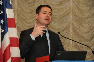 Minister Paschal Donohoe, TD: Hailed latest US-Ireland tourism stats in remarks to a luncheon sponsored by the Irish American Partnership on Fri., Sept. 26 in Boston.